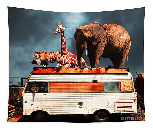 Barnum And Baileys Fabulous Road Trip Vacation Across The Usa Circa 2013 5d22705 With Text Tapestry