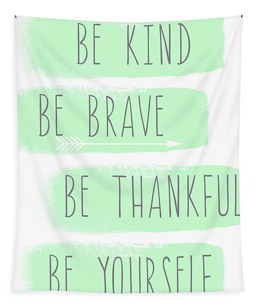 Be Yourself- Mint And White Inspirational Art Tapestry