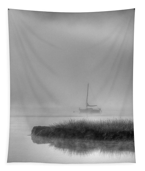 Boat And Morning Fog Tapestry