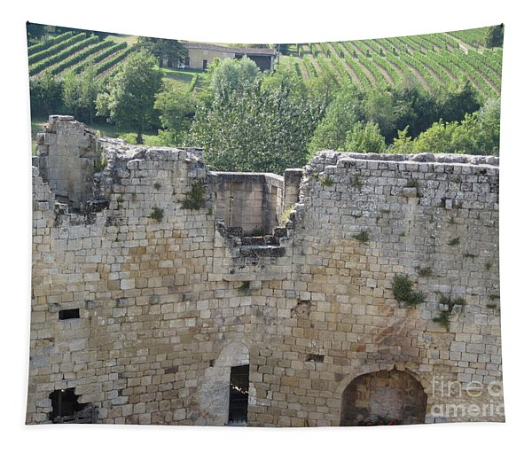 Bordeaux Castle Ruins With Vineyard Tapestry