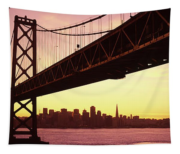 Bridge Across A Bay With City Skyline Tapestry