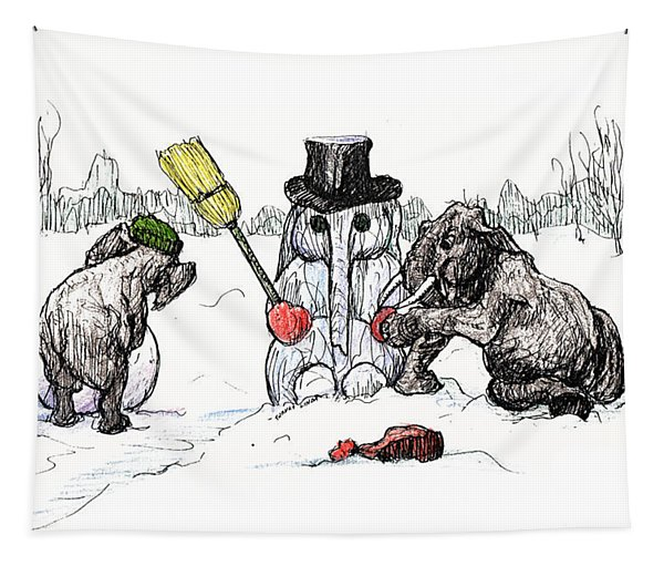 Building A Snow Elephant Tapestry