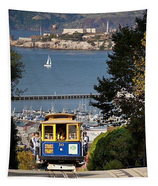 San Francisco Cable Car On Hyde Street Print By Brian Jannsen Photography Tapestry