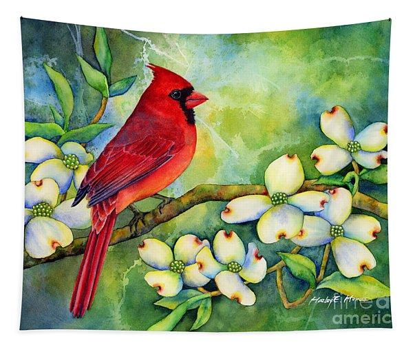 Cardinal On Dogwood Tapestry