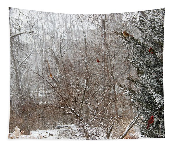 Cardinals In Winter Tapestry