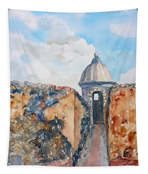 Castillo De San Cristobal Sentry Door Tapestry