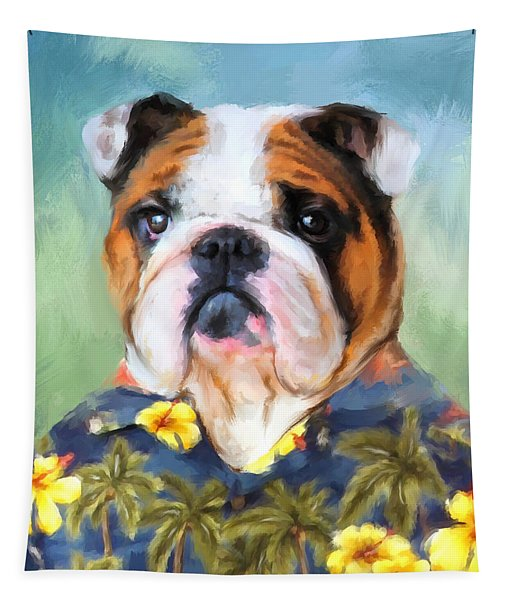 Chic English Bulldog Tapestry