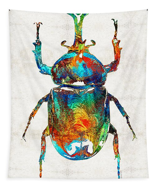 Colorful Beetle Art - Scarab Beauty - By Sharon Cummings Tapestry