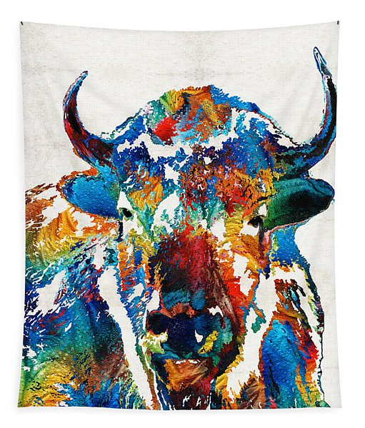 Colorful Buffalo Art - Sacred - By Sharon Cummings Tapestry
