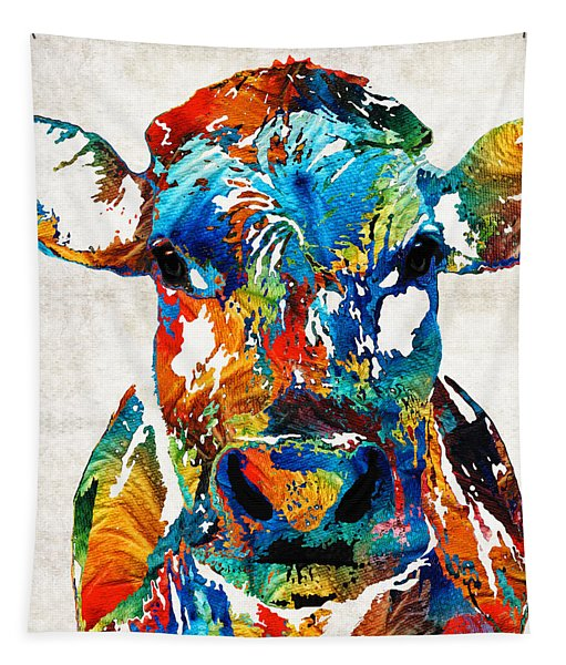 Colorful Cow Art - Mootown - By Sharon Cummings Tapestry