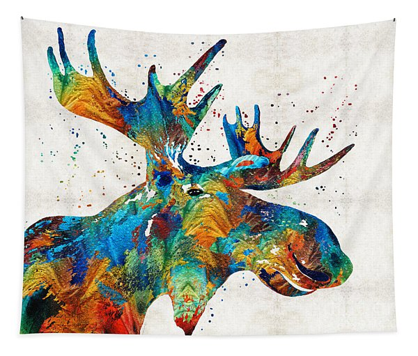 Colorful Moose Art - Confetti - By Sharon Cummings Tapestry