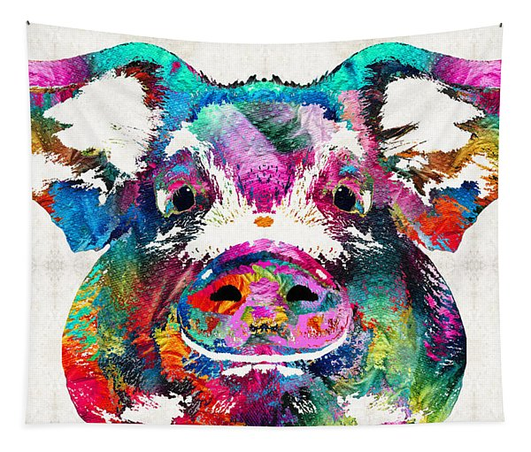 Colorful Pig Art - Squeal Appeal - By Sharon Cummings Tapestry