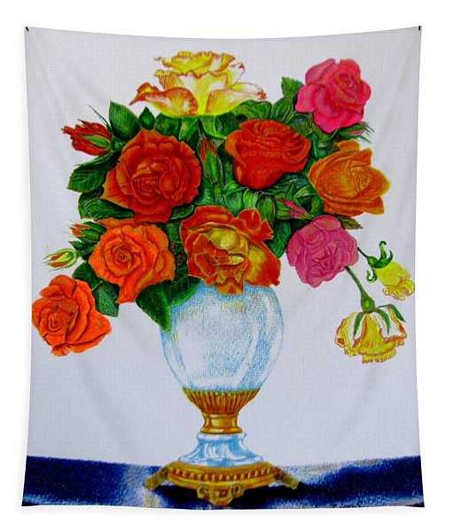 Colorful Roses Tapestry
