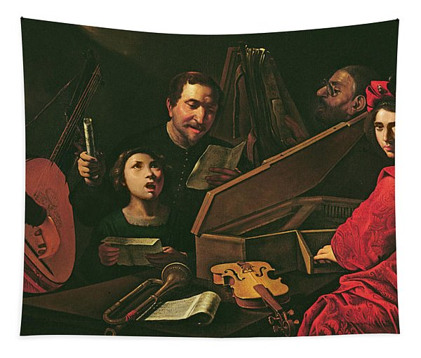Concert With Musicians And Singers, C.1625 Oil On Canvas Tapestry