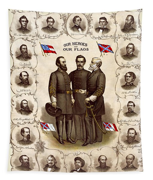 Confederate Generals And Flags Tapestry