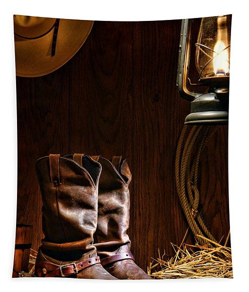 Cowboy Boots At The Ranch Tapestry