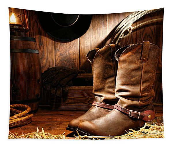 Cowboy Boots In A Ranch Barn Tapestry