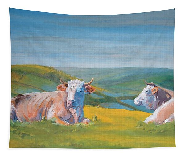 Cows Lying Down Painting Tapestry