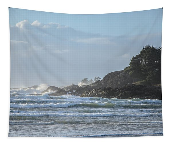 Cox Bay Afternoon Waves Tapestry