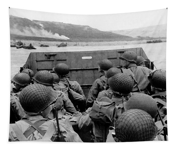 D-day Soldiers In A Higgins Boat  Tapestry