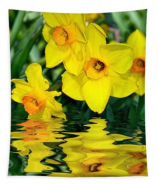 Daffodils By The Lake Tapestry