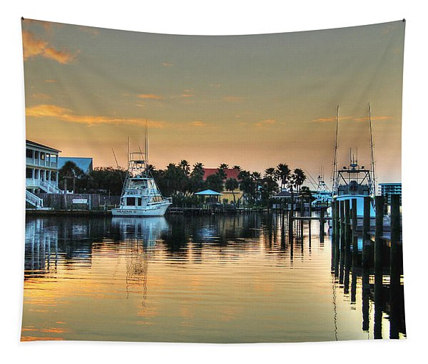 Dawn On A Orange Beach Canal Tapestry