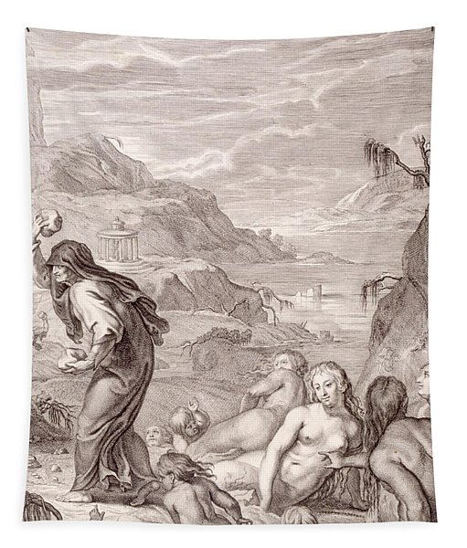Deucalion And Pyrrha Repeople The World By Throwing Stones Behind Them Tapestry