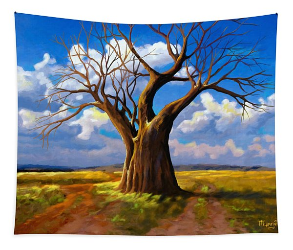 Dry Tree And Two Roads Tapestry