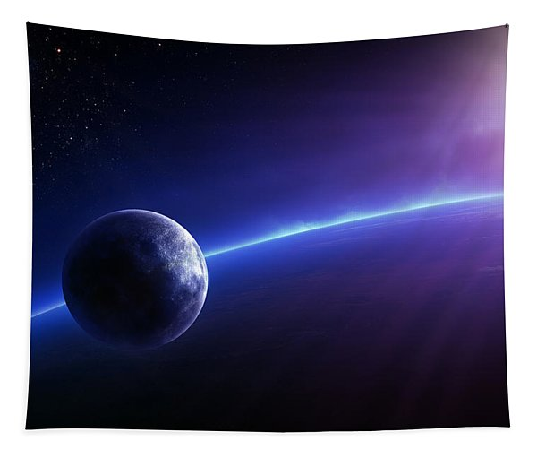 Fantasy Earth And Moon With Colourful  Sunrise Tapestry