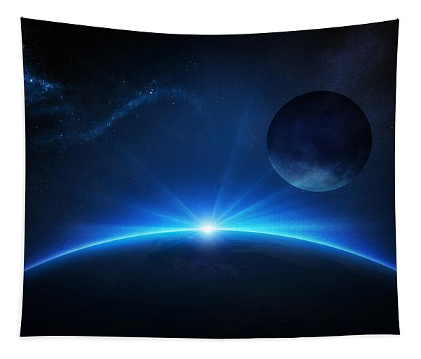 Fantasy Earth And Moon With Sunrise Tapestry