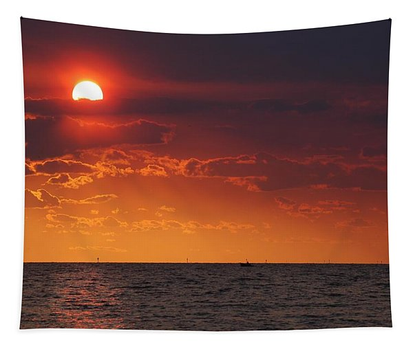 Fishing Till The Sun Goes Down Tapestry