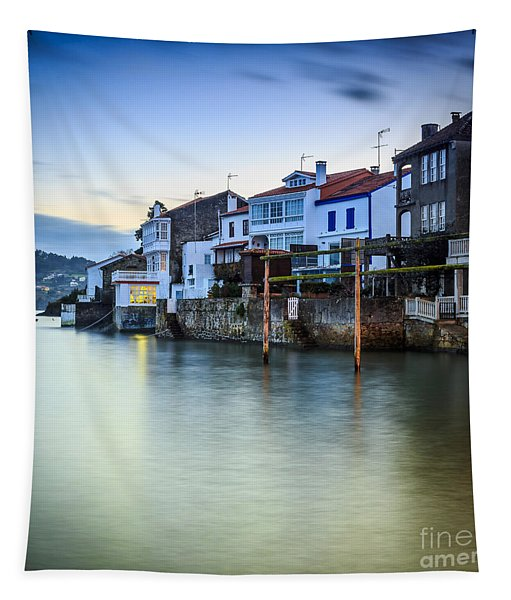 Fishing Town Of Redes Galicia Spain Tapestry