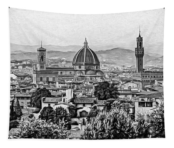 Florence Panorama - Paint Bw Tapestry