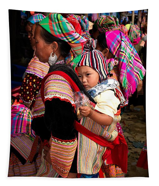 Flower Hmong Woman Carrying Baby Tapestry