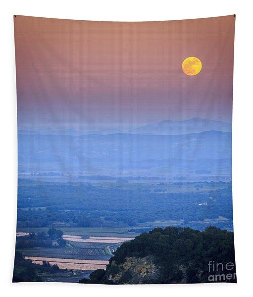 Full Moon Over Vejer Cadiz Spain Tapestry