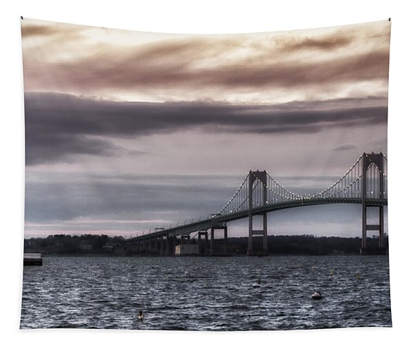 Goat Island Lighthouse And Newport Bridge Tapestry