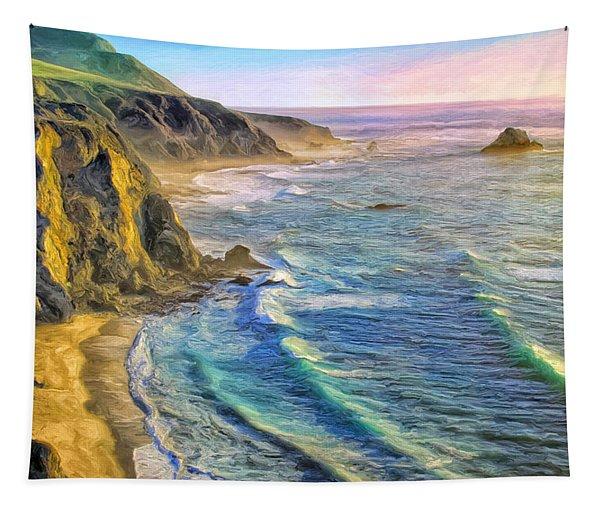 Golden Sunset At Big Sur Tapestry