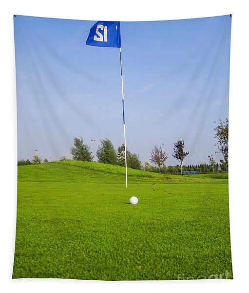 Golf Ball Near Hole With Flag And Number Tapestry