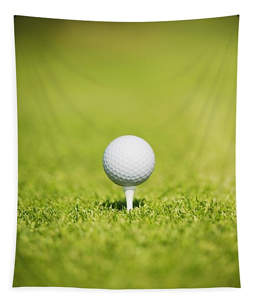 Golf Ball On A Tee Tapestry