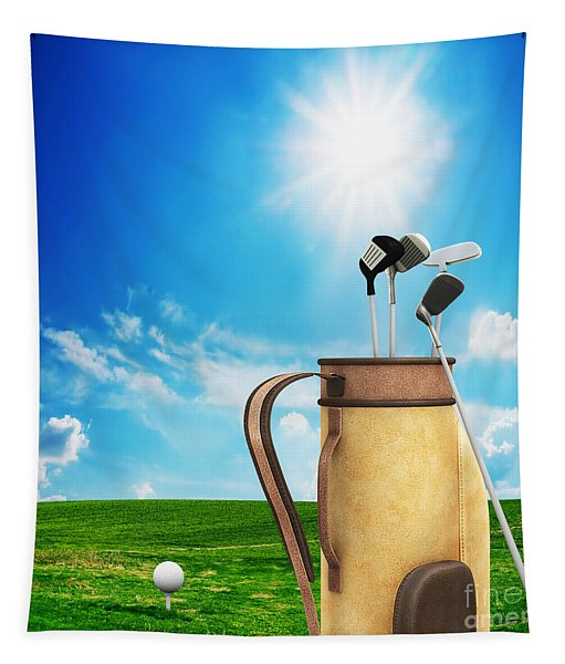 Golf Equipment And Ball On Golf Course Tapestry