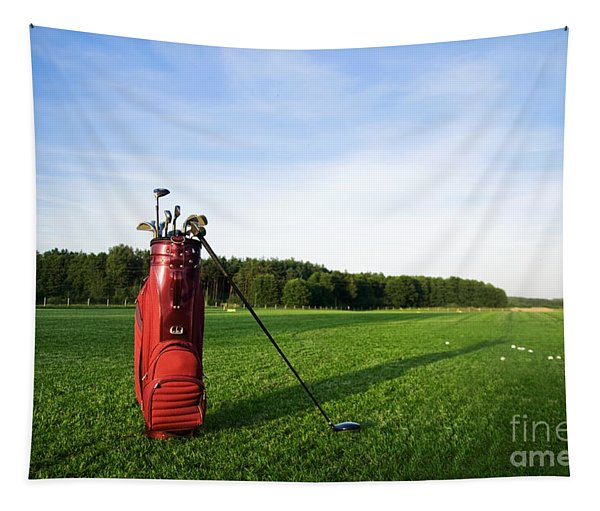 Golf Gear On The Golf Field Tapestry
