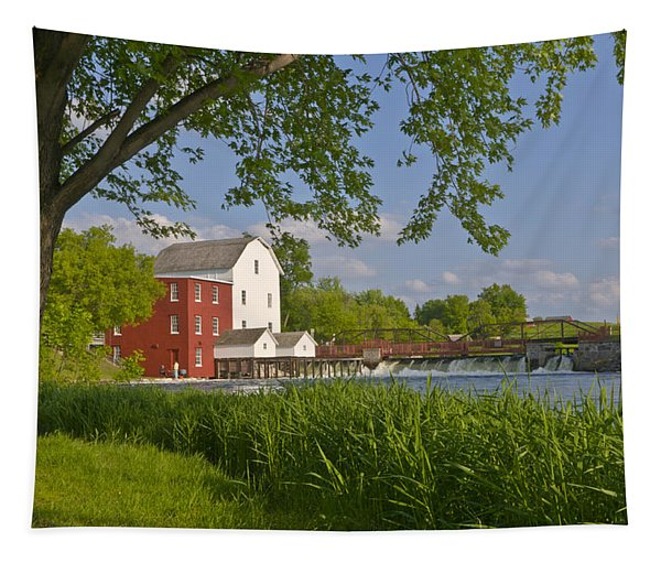 Historic Flour Mill By A River Tapestry