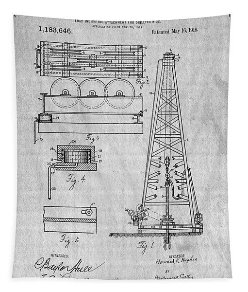 Howard Huges Drilling Rig Original Patent Tapestry