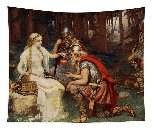 Idun And The Apples, Illustration Tapestry