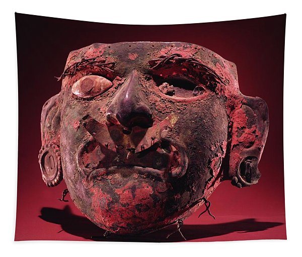 Incan Mask Copper Alloy & Shell Tapestry