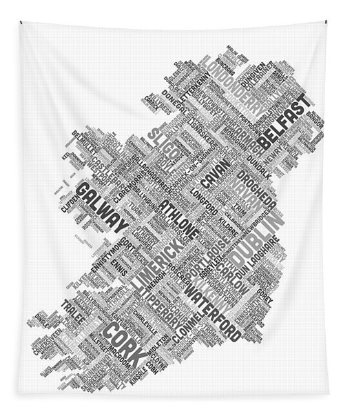 Ireland Eire City Text Map Tapestry