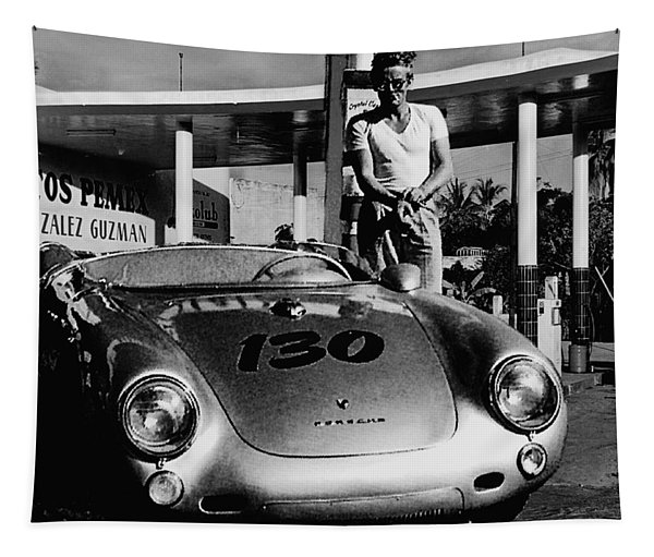 James Dean Filling His Spyder With Gas In Black And White Tapestry