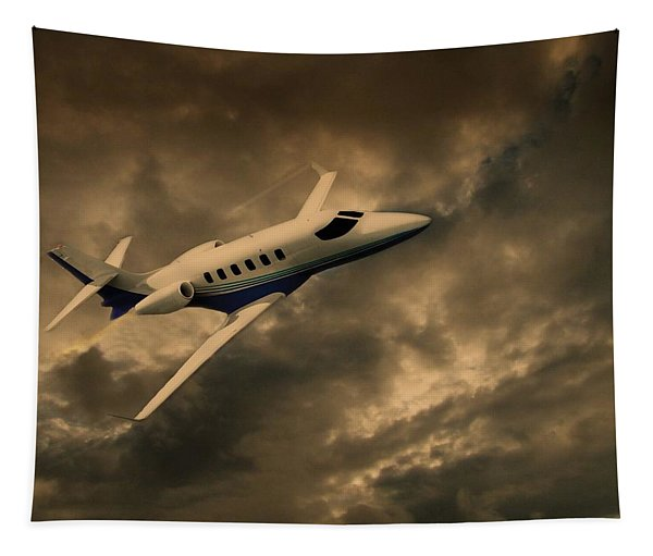 Jet Through The Clouds Tapestry