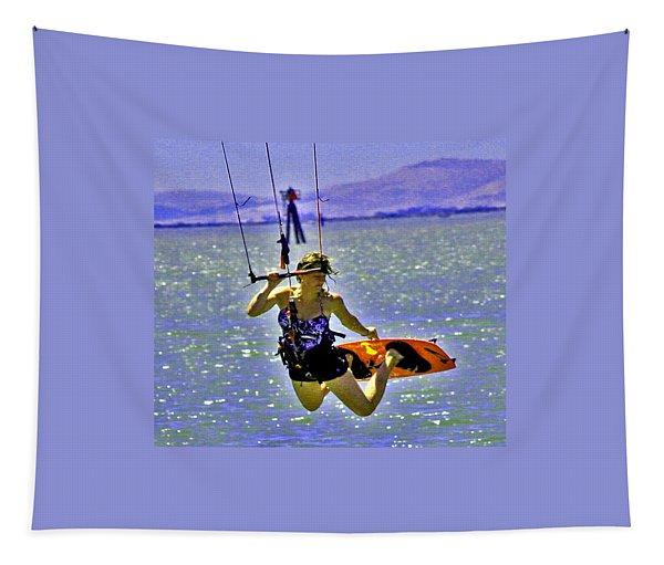 A Kite Board Hoot Tapestry