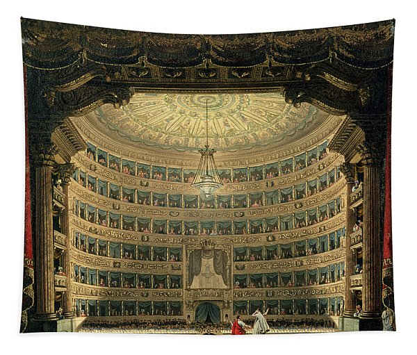 La Scala, Milan, During A Performance Tapestry